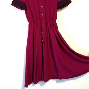 Vintage Leslie Fay Button Collared Dress. S